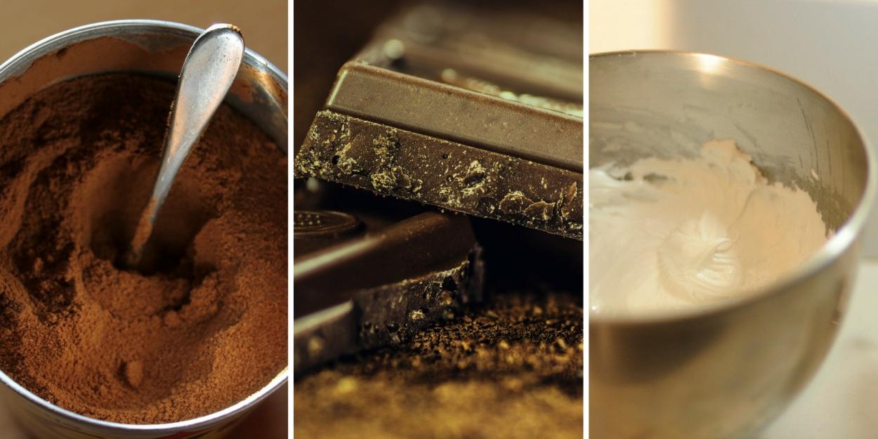 Café, chocolate y nata