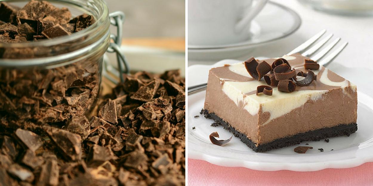 Pastel de queso de chocolate y vainilla